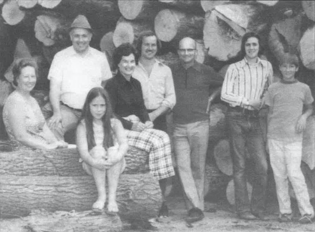 Picture of a black and white photo of the Townson Family from the 80's.