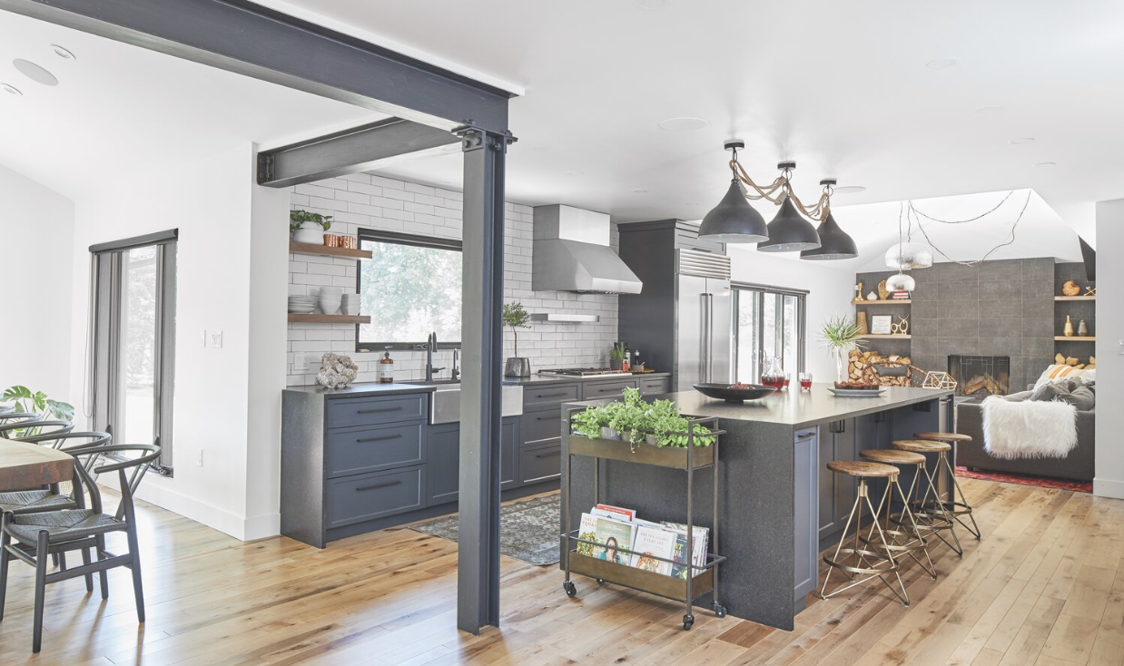 Modern grey kitchen will bright lights and wood floors.